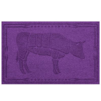 Weather Guard™ 23-Inch x 35-Inch Cow BBQ Mat in Purple