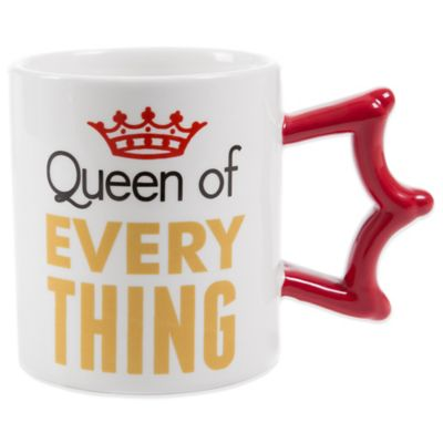 """Queen of Everything"" Mug with Sculpted Crown Handle"