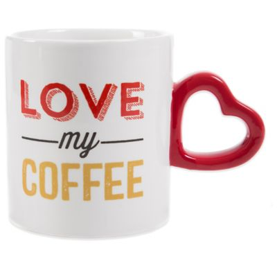 """Love My Coffee"" Mug with Sculpted Heart Handle"