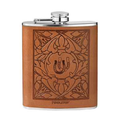 Pendleton® Stainless Steel Debossed Leather-Wrapped Flask in Brown