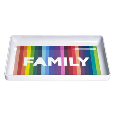 Novogratz Collection Family Rectangular Serving Tray in White/Multi