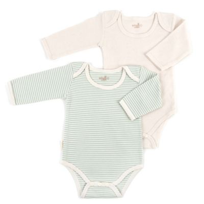 Tadpoles Size 0-3M 2-Pack Long Sleeve Bodysuits in Sage/White