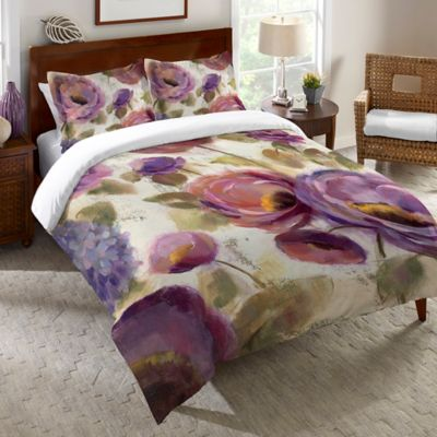 Laural Home® Blue & Purple Flower Song Queen Duvet Cover in Purple