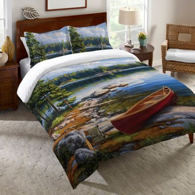 Laural Home® Blue Water Bay Twin Duvet Cover in Blue