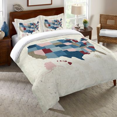 Laural Home® Modern Vintage Map Twin Duvet Cover in Blue