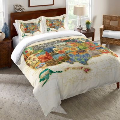 Laural Home® Vintage Travel Map Queen Duvet Cover
