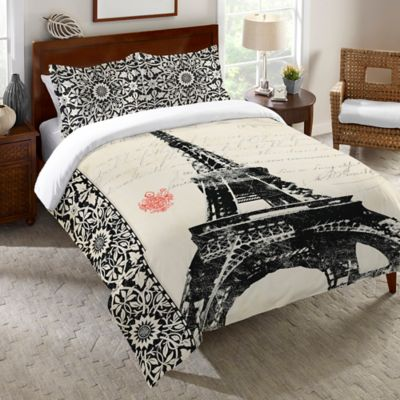Laural Home® Eiffel Tower Border King Duvet Cover in White