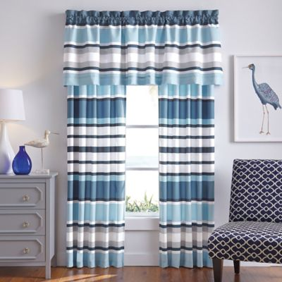 Blue Striped Window Panels