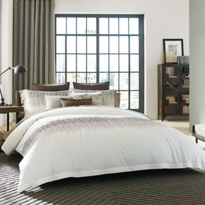 Kenneth Cole Reaction Home Etched Twin Duvet Cover in Ivory
