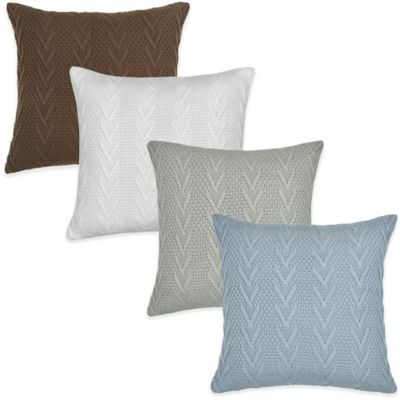 Flatiron Home Cable Knit Square Throw Pillow in Light Blue