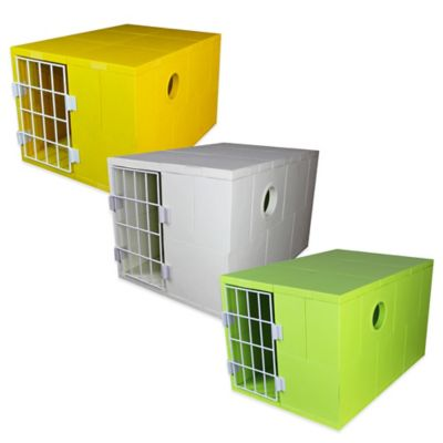 Pego 1-Door Plastic Pet House in Yellow
