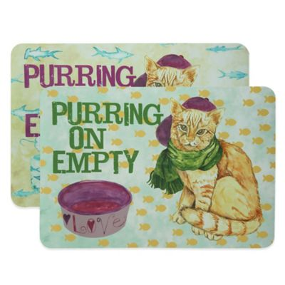 "Bacova 19-Inch x 13-Inch ""Purring On Empty"" Pet Mat in Green"