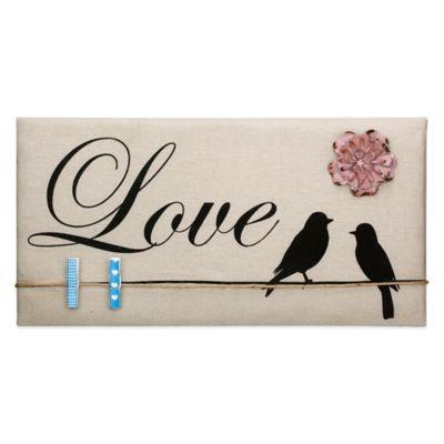 """Love"" Inspirational Birds Canvas Memo Board in Tan"