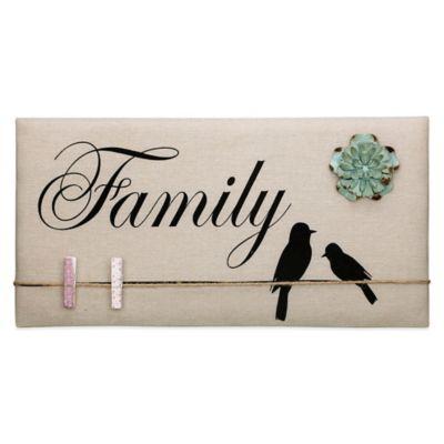"""Family"" Inspirational Birds Canvas Memo Board in Tan"