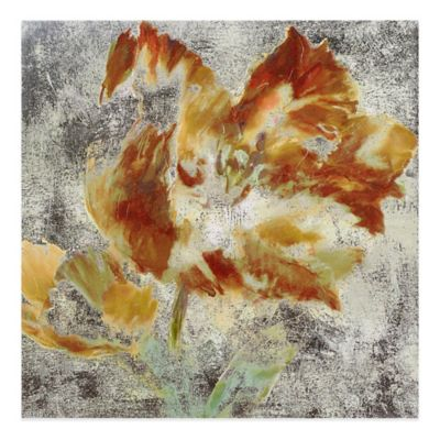 Brent Heighton Golden Floral Printed Canvas with Metallic Ink Wall Art