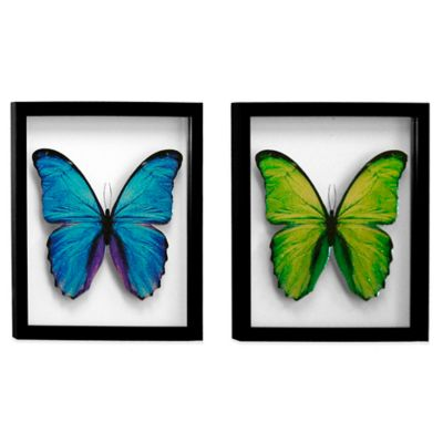 HeadWest Glass Butterfly Art Work (Set of 2)