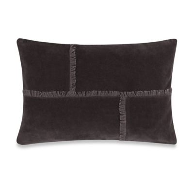 Kenneth Cole Reaction Home Waffle Velvet Oblong Throw Pillow in Charcoal