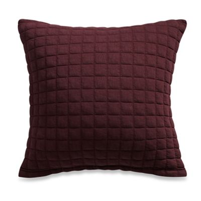 Kenneth Cole Reaction Home Waffle Square Throw Pillow in Cranberry