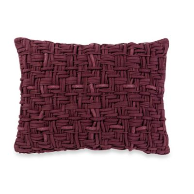 Kenneth Cole Reaction Home Waffle Oblong Throw Pillow in Cranberry