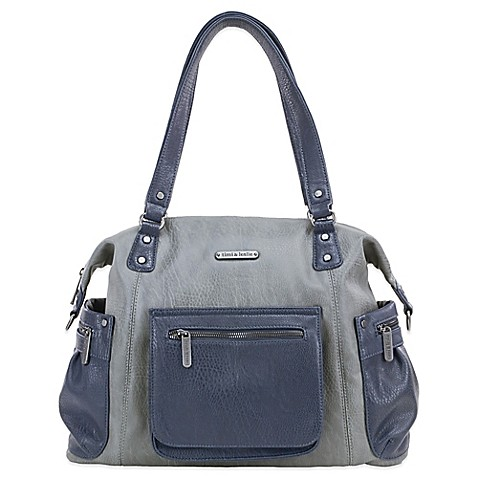 buy timi leslie abby 7 piece diaper bag set in grey navy from bed bath beyond. Black Bedroom Furniture Sets. Home Design Ideas