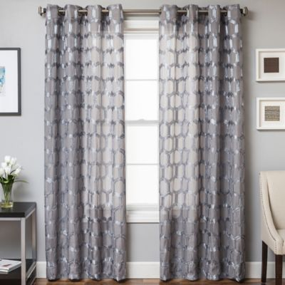 Rochelle Grommet Top 84-Inch Window Curtain Panel in Grey