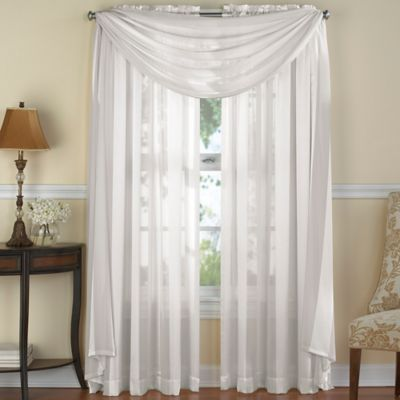 Venetian Stripe Window Scarf Valance in White