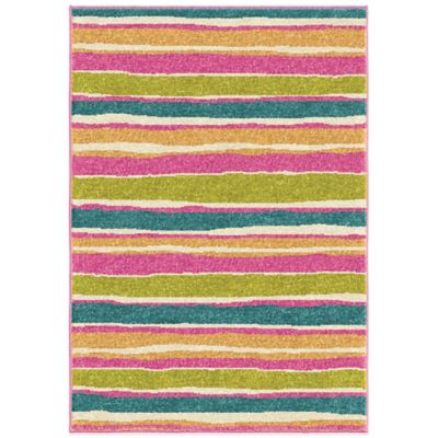 Orian Kids Court 3-Foot 10-Inch x 5-Foot 1-Inch Summertime Scatter Rug in Pink