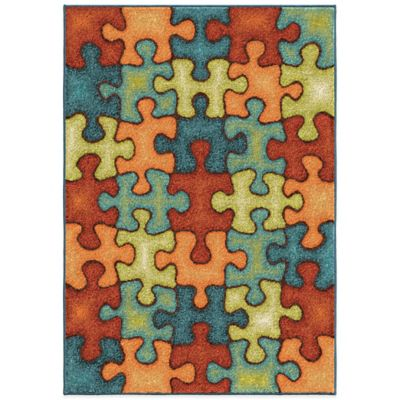 Orian Kids Court 5-Foot 3-Inch x 7-Foot 6-Inch I'm Puzzled Area Rug