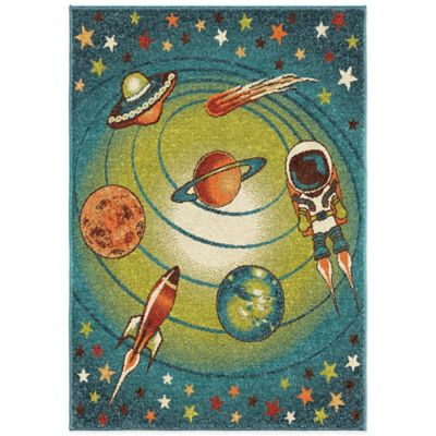 Orian Kids Court 5-Foot 3-Inch x 7-Foot 6-Inch Galaxy Area Rug in Blue