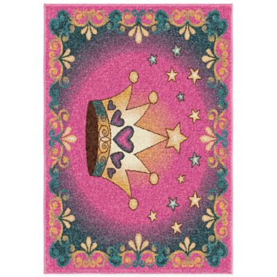 Orian Kids Court 3-Foot 10-Inch x 5-Foot 1-Inch Her Majesty Rug in Pink