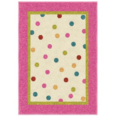 Orian Kids Court 3-Foot 10-Inch x 5-Foot 1-Inch Polka Dot Rug in Pink