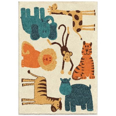 Orian Kids Court 3-Foot 10-Inch x 5-Foot 1-Inch Safari Rug in Beige