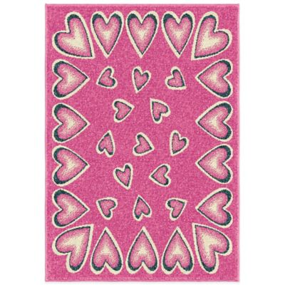 Orian Kids Court Tossed Hearts 5-Foot 3-Inch x 7-Foot 6-Inch Area Rug in Pink