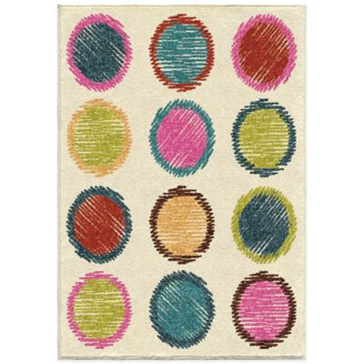 Orian Kids Court 3-Foot 10-Inch x 5-Foot 1-Inch Circle Sketch Rug in Pink