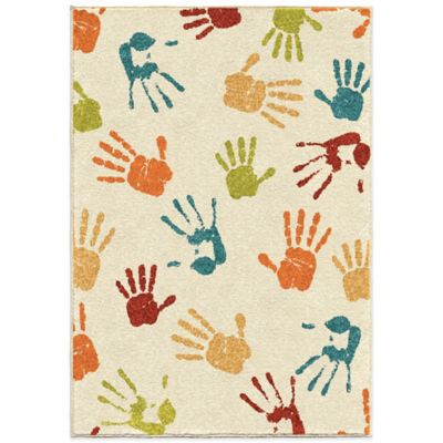 Orian Kids Court 3-Foot 10-Inch x 5-Foot 1-Inch Handprints Rug in Ivory