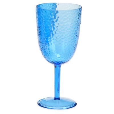 Certified International Hammered-Acrylic Goblets in Cobalt Blue (Set of 12)