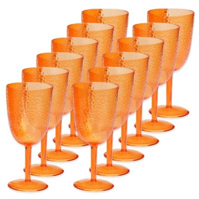 Certified International Acrylic Hammered-Glass Goblet in Orange (Set of 12)