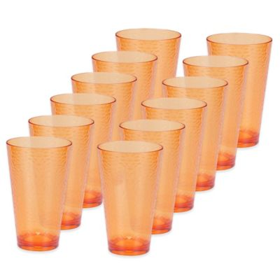 Certified International Hammered-Acrylic Iced Tea Glasses in Orange (Set of 12)