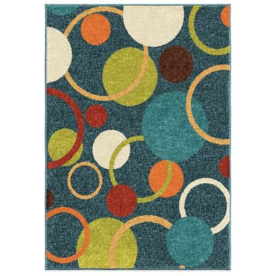 Orian Kids Court 5-Foot 3-Inch x 7-Foot 6-Inch Gumball Admiral Area Rug in Blue