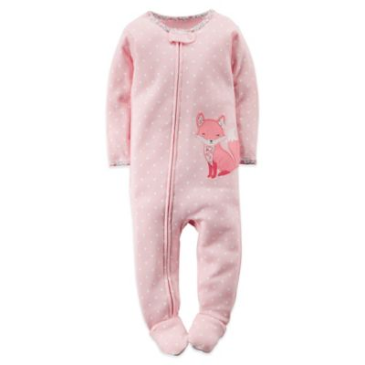 Carter's® Size 24M Polka Dot Fox Footed Pajama in Pink