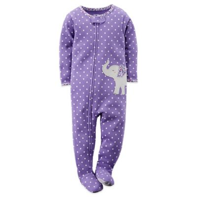 Carter's® Size 18M Polka Dot Elephant Footed Pajama in Purple