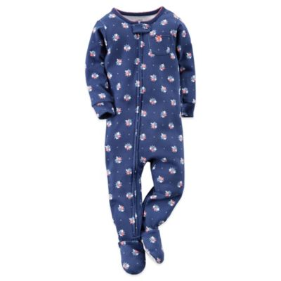 Carter's® Size 12M Flower Print Footed Pajama in Navy