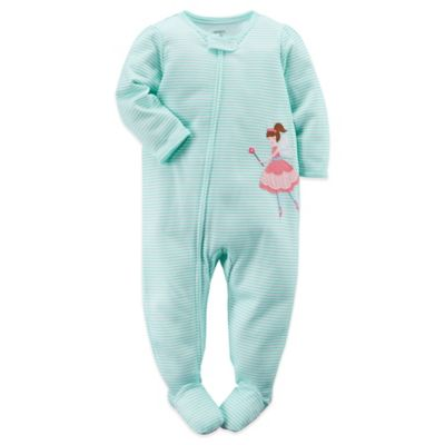 Carter's® Size 12M Stripes and Fairy Footed Pajama in Green