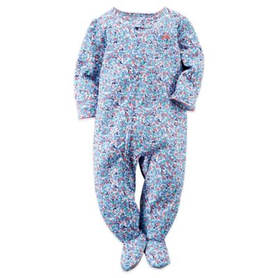 Carter's® Size 12M Ditsy Floral Footed Pajama in Blue