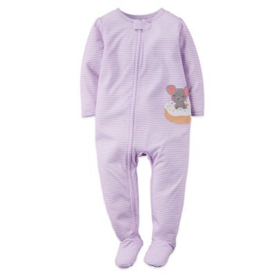 Carter's® Size 24M Stripes and Mouse Footed Pajama in Purple