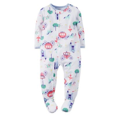 Carter's® Size 12M Cinderella Print Footed Pajama in White