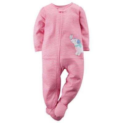 Carter's® Size 2T Stripe and Dog Footed Pajama in Pink