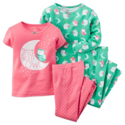 "Carter's® Size 3T 4-Piece ""Mommy's Little Night Owl"" Pajama Set in Coral"