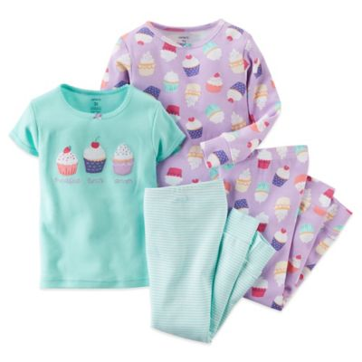 Carter's® Size 12M 4-Piece Cupcake Pajama Set in Mint