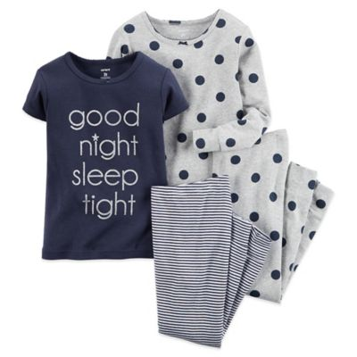 "Carter's® Size 12M 4-Piece ""Good Night Sleep Tight"" Pajama Set in Navy"